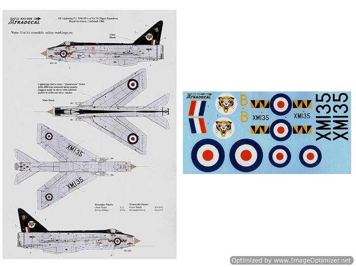 Xtradecal 1/32 32009 Lightning F.1 XM 135/B 74Sqn (tiger)