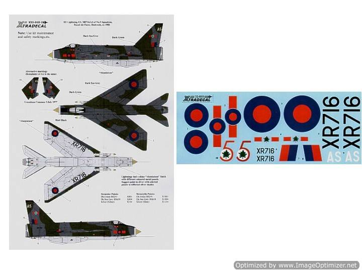 Xtradecal 1/32 32010 EE Lightning F.3 XR716/AS 5 Sqn RAF Binbrook 1982 Green/Grey camouflage