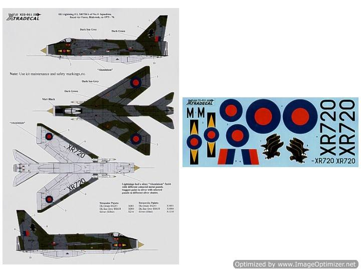Xtradecal 1/32 32011 lightning F.3 XR 720/M 11 Sqn