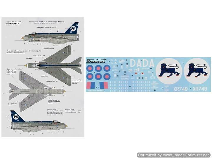 Xtradecal 1/32 32012 EE Lightning F.3 XR749/DA Lightning Training Flight