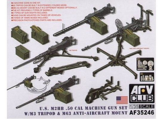 AFV Club US M2HB .50 Cal Gun Set with M3 Tripod & M63 AA Mount 1/35 35246