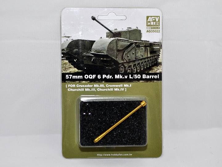 AFV Club 57mm OQF 6 Pdr. MK.v L/50 Barrel for Crusader Mk.III, Cromwell Mk.I, Churchill Mk.III, Churchill Mk.IV AG35022