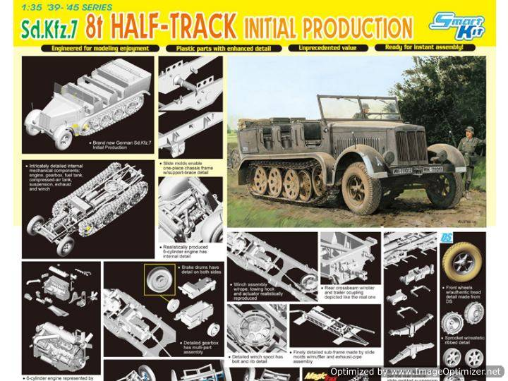 Dragon - Sd.Kfz.7 8t Half-Track Initial Production 1/35 6466