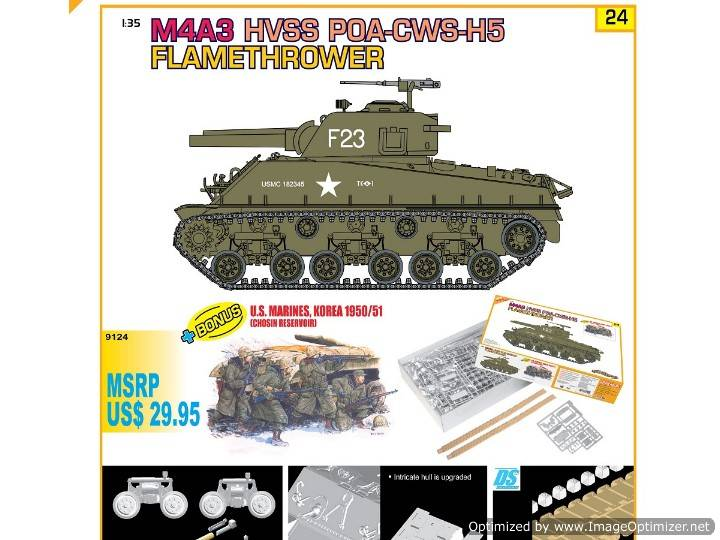 Dragon - M4A3 HVSS POA-CWS-H5 Flamethrower w/ Figures Model Kit 1/35 9124