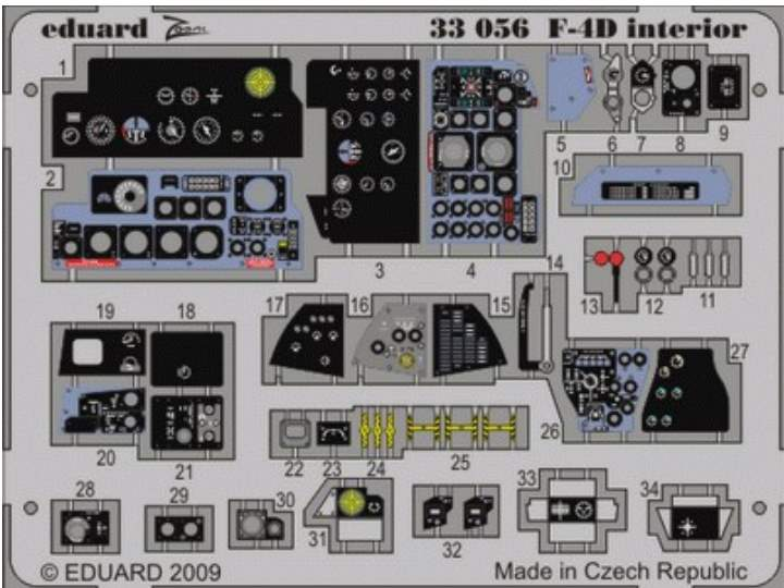 Eduard F-4D Phantom interior (self adhesive) - For The Tamiya Kit Scale 1/32 33056