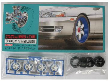 Fujimi - 17inch Sparco N1 blue rim Wheel and Tyre Set 1/24 19154