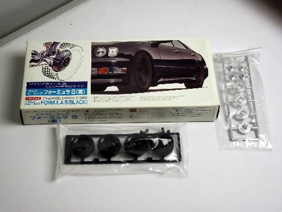 "Fujimi - 17inch Volk racing Formula S ""Black"" Wheel and Tyre Set 1/24 19160"