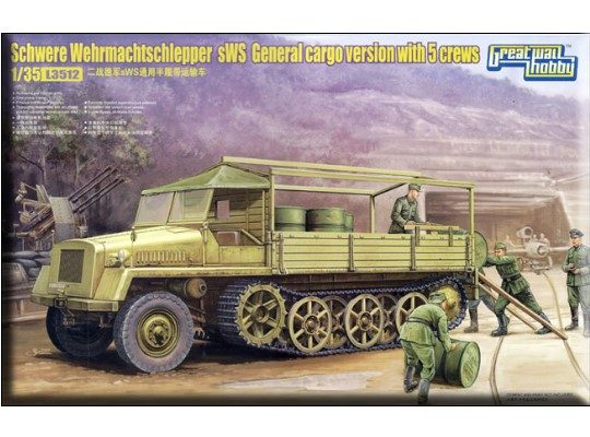 Great Wall Hobby - Schwere Wehrmachtschlepper sWS General cargo version w/5 crew 1/35 3512