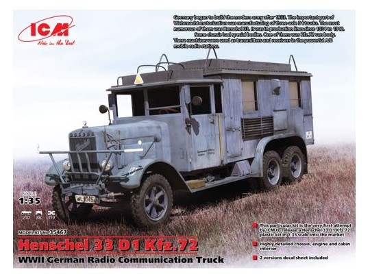 ICM - Henschel 33 D1 Kfz.72, WWII German Radio Communication Truck 1/35 35467