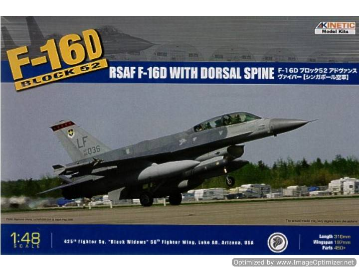 Kinetic - F-16D Block 52+ with dorsal fin. Decals Singapore. - DAMAGED BOX 1/48 48007