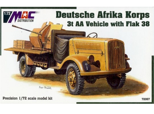 Mac Distribution Opel Blitz 3t AA vehicle with Flak 38 Afrika Korps 1/72 72067