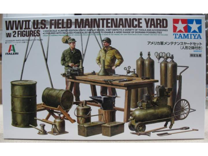 Tamiya WWII U.S Field Maintenance Yard w/2 figures Scale 1/35 25106