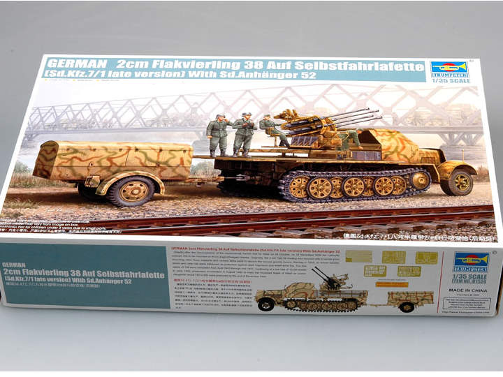 Trumpeter Sd.Kfz 7/1 Half Track w/ 20mm Flakvierling 38 Late Version Scale 1/35 01524