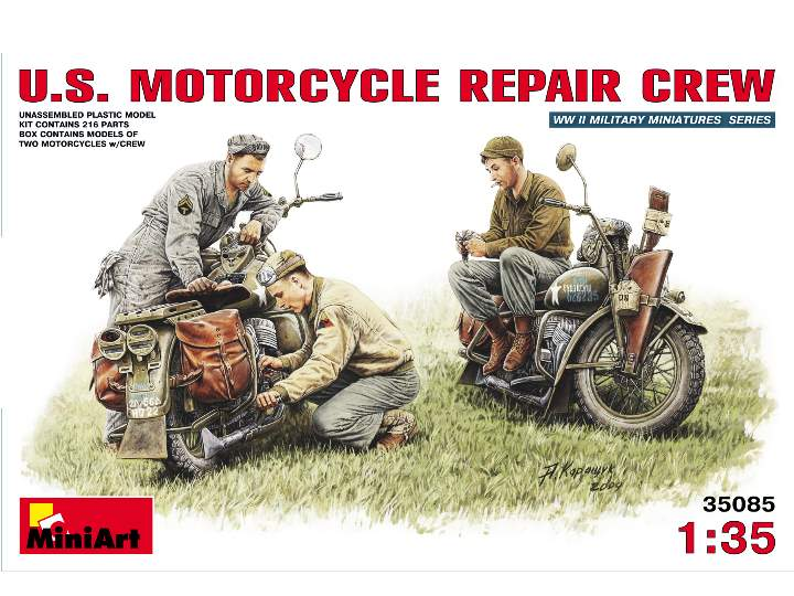 Miniart US Motorcycle Repair Crew Scale 1/35 35101