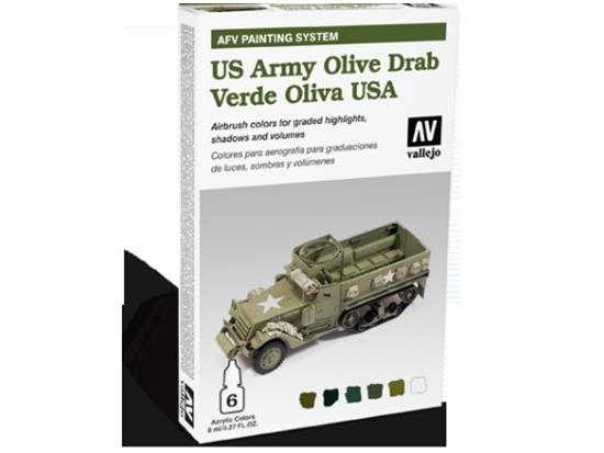 Vallejo - AFV US Army Olive Drab Painting System Scale 8ml x 6 78402