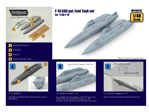 Wolfpack Design F-16 600 Gal. Fuel tank set 1/48 WDWP48018