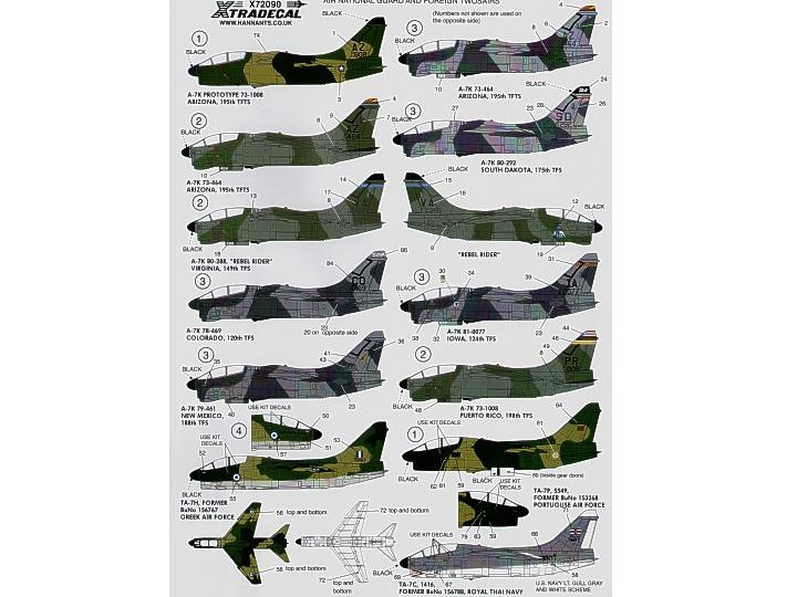 Xtradecal A-7K Corsair Twosair Decals 1/72 72090