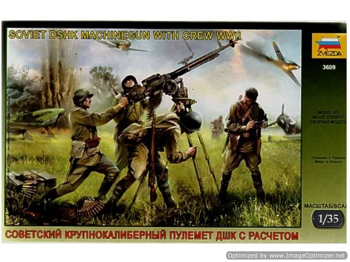 Zvezda Soviet DSHK Machine Gun with Crew WWII Scale 1/35 3609