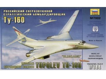 Zvezda Russian Supersonic Bomber Tupolev TU-160 Blackjack Scale 1/144 7002