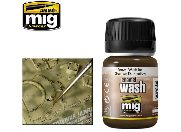Ammo Mig 35ml 1000 Brown Wash For German Dark Yellow - Enamel