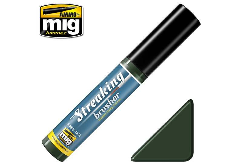 Ammo Mig - 1256 Streaking Brusher - Green-Grey Grime