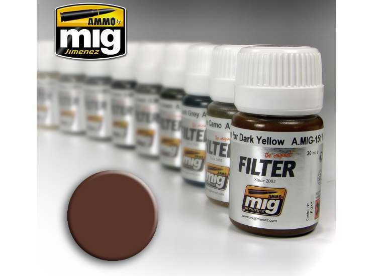 Ammo Mig 30ml 1500 Enamel Filter - Brown For White