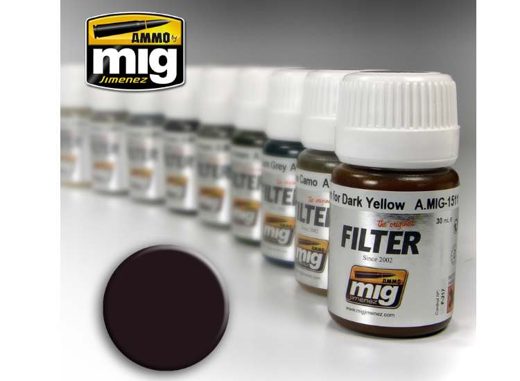 Ammo Mig 30ml 1506 Enamel Filter - Brown For Dark Green