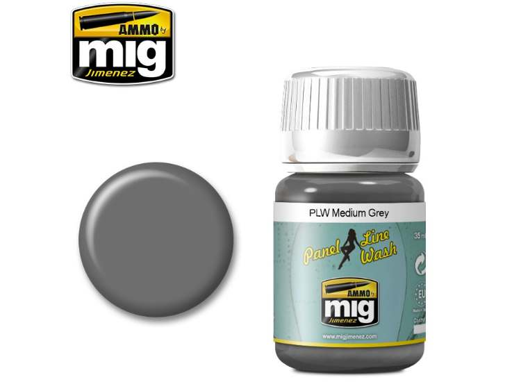 Ammo Mig 35ml 1601 Panel Line Wash - Medium Grey - Enamel
