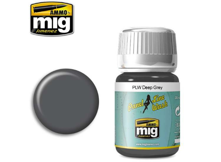 Ammo Mig 35ml 1602 Panel Line Wash - Deep Grey - Enamel