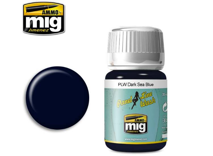 Ammo Mig 35ml 1603 Panel Line Wash - Dark Sea Blue - Enamel