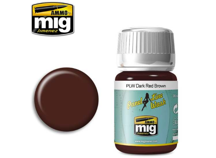 Ammo Mig 35ml 1605 Panel Line Wash - Dark Red Brown - Enamel