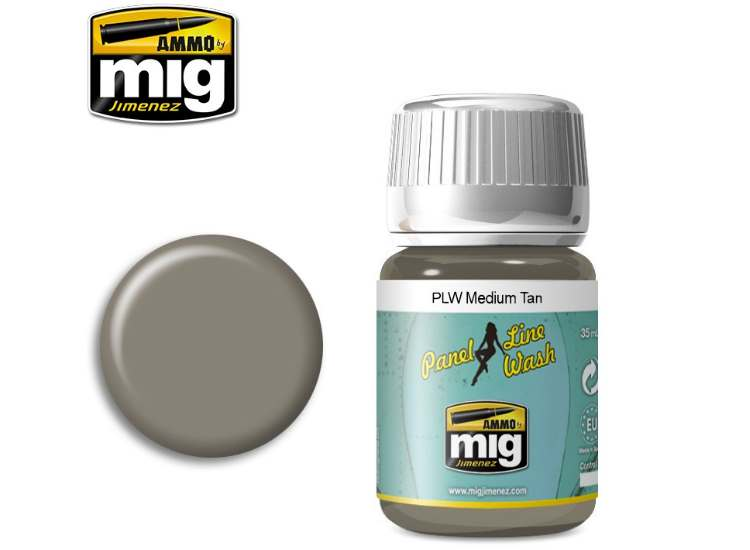 Ammo Mig 35ml 1606 Panel Line Wash - Medium Tan - Enamel