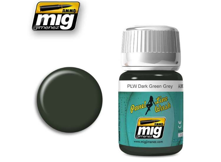 Ammo Mig 35ml 1608 Panel Line Wash - Dark Green Grey - Enamel
