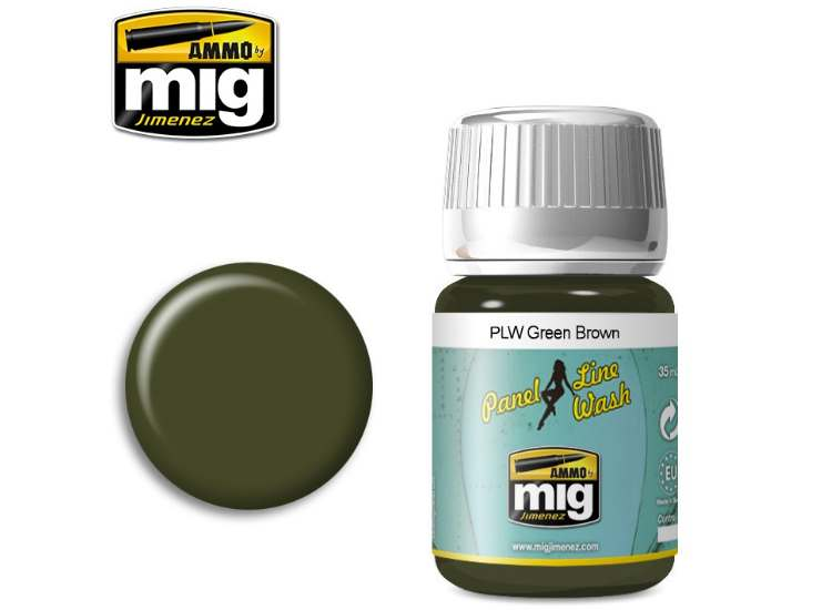 Ammo Mig 35ml 1612 Panel Line Wash - Green Brown - Enamel