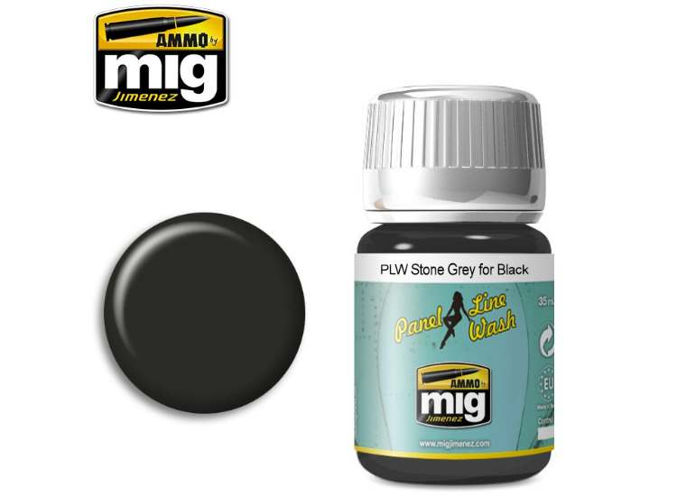 Ammo Mig 35ml 1615 Panel Line Wash - Stone Grey For Black - Enamel