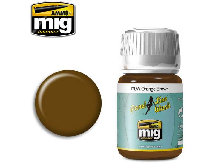 Ammo Mig 35ml 1616 Panel Line Wash - Orange Brown - Enamel
