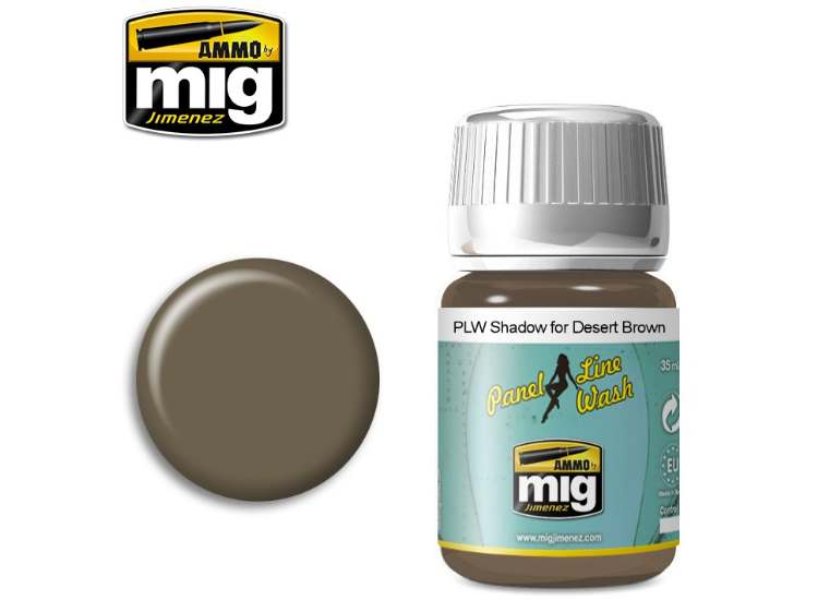 Ammo Mig 35ml 1621 Panel Line Wash - Shadow For Desert Brown - Enamel