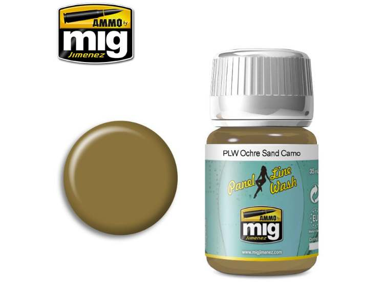Ammo Mig 35ml 1622 Panel Line Wash - Ochre For Sand Camo - Enamel