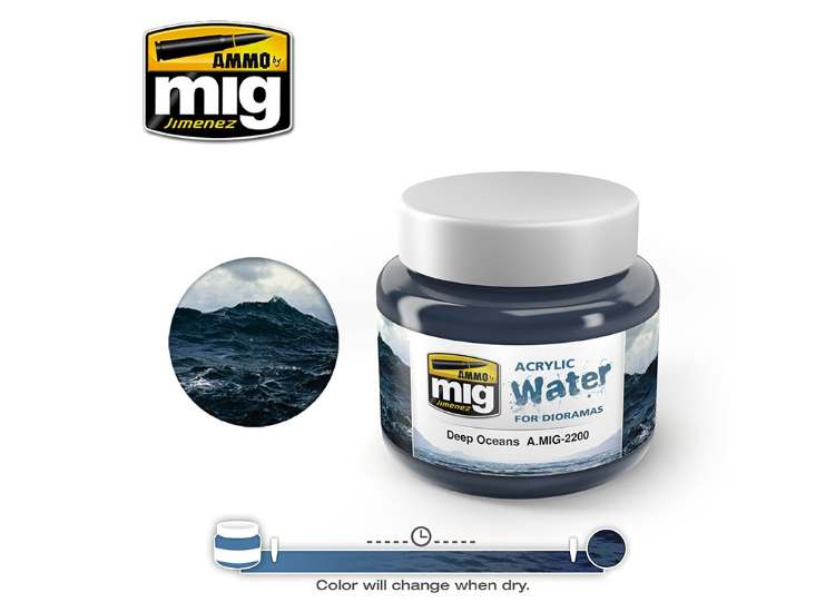 Ammo Mig 250ml 2200 Deep Oceans - Acrylic Gel Water