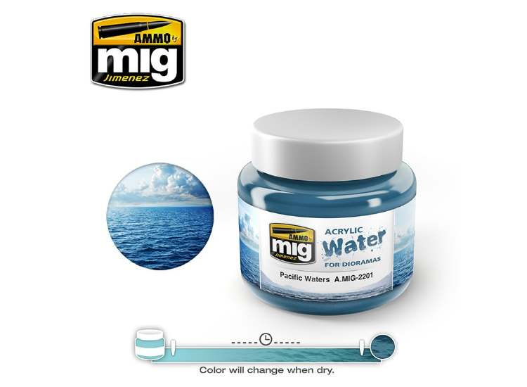 Ammo Mig 250ml 2201 Pacific Waters - Acrylic Gel Water