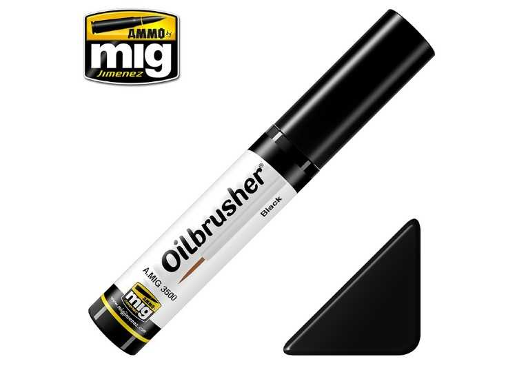 Ammo Mig 10ml 3500 Oilbrusher Paint - Black
