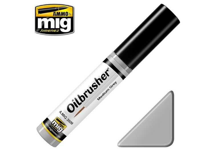 Ammo Mig 10ml 3509 Oilbrusher Paint - Medium Grey