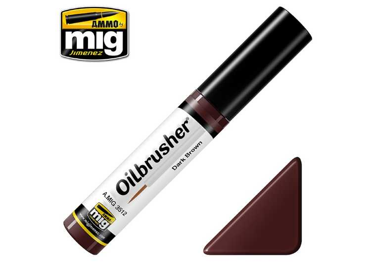 Ammo Mig 10ml 3512 Oilbrusher Paint - Dark Brown