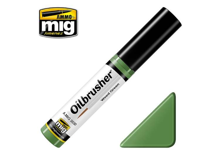 Ammo Mig 10ml 3530 Oilbrusher Paint - Weed Green