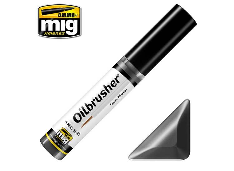Ammo Mig 10ml 3535 Oilbrusher Paint - Gun Metal