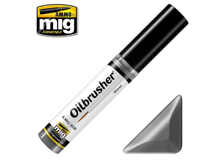 Ammo Mig 10ml 3536 Oilbrusher Paint - Steel
