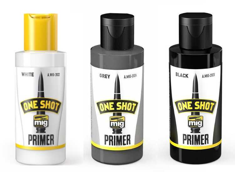 Ammo Mig One Shot Acrylic Primer - White, Black and Grey 3 Pack