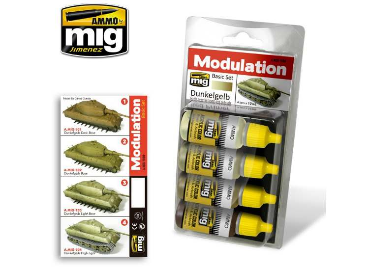 Ammo Mig Dunkelgelb Modulation Set - Acrylic Paint Set 7000