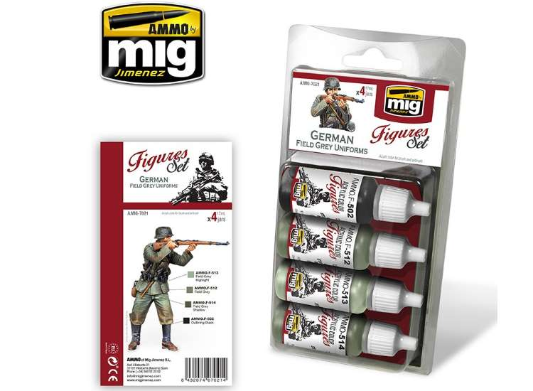 Ammo Mig German Field Grey Uniform Acrylic Paint Set 7021