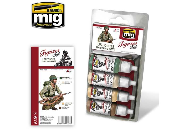 Ammo Mig 17ml x4 7022 WWII US Uniforms - Acrylic Paint Set